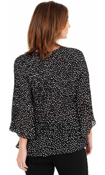Pleated Spot Print Georgette Top Black/White - Gallery Image 2