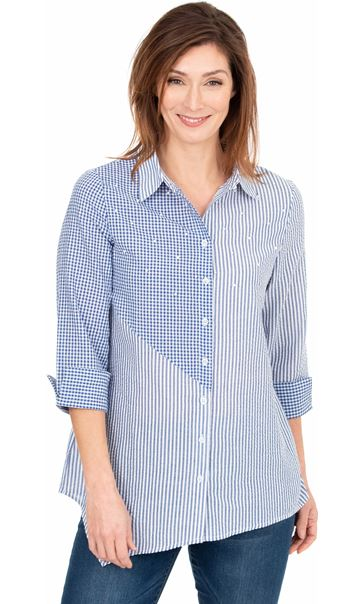 Embellished Stripe And Check Shirt Blue/White