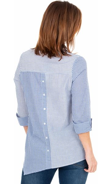 Embellished Stripe And Check Shirt Blue/White - Gallery Image 2