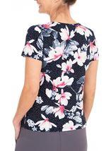 Anna Rose Floral Textured Stretch Top Navy/Pink - Gallery Image 2