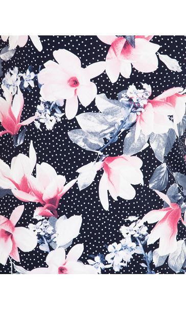 Anna Rose Floral Textured Stretch Top Navy/Pink - Gallery Image 3