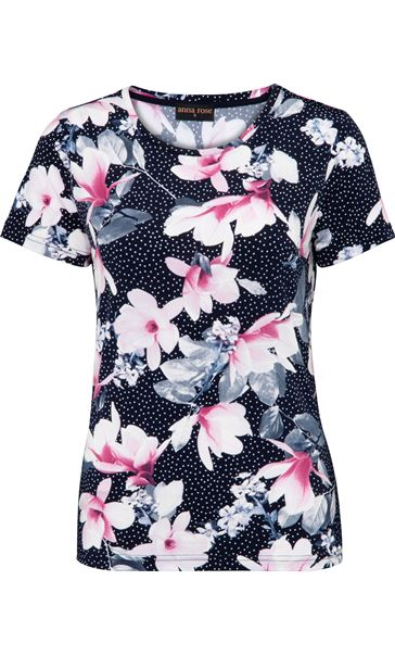 Anna Rose Floral Textured Stretch Top Navy/Pink - Gallery Image 4