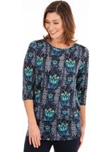 Printed Ruched Stretch Tunic
