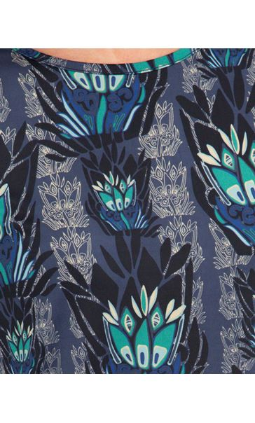 Printed Ruched Stretch Tunic Navy/Blue - Gallery Image 3