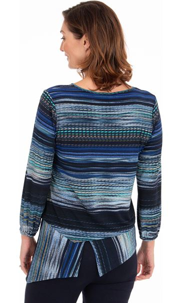 Dipped Hem Striped Stretch Top Navy/Blue - Gallery Image 2