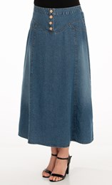 Panelled Denim Maxi Skirt