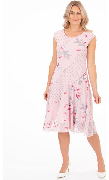 Spot And Floral Panelled Mesh Dress Pink
