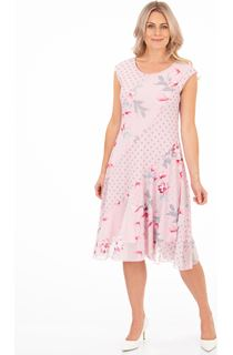 Spot And Floral Printed Panel Mesh Dress - Pink