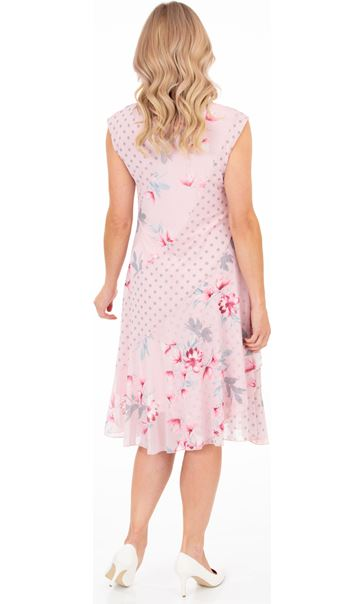 Spot And Floral Panelled Mesh Dress Pink - Gallery Image 2