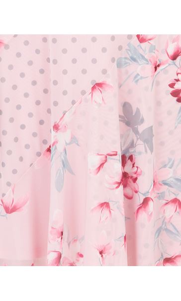 Spot And Floral Panelled Mesh Dress Pink - Gallery Image 3