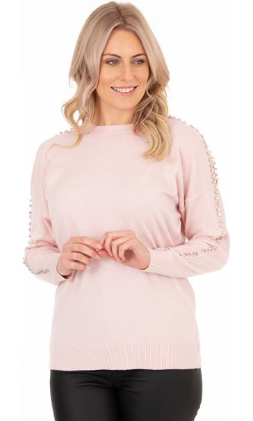 Embellished Drop Shoulder Knit Top