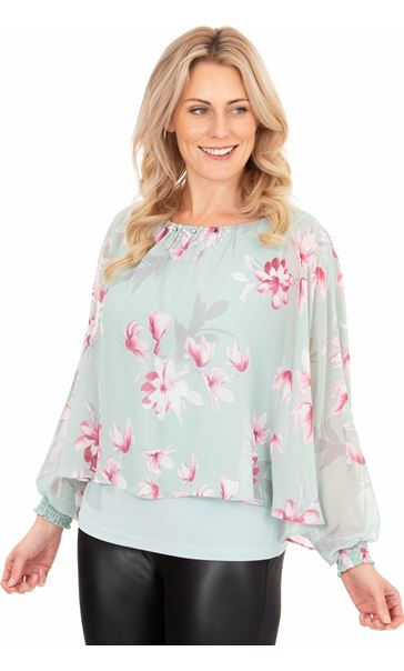 Printed Chiffon Layered Top Mint/Pink