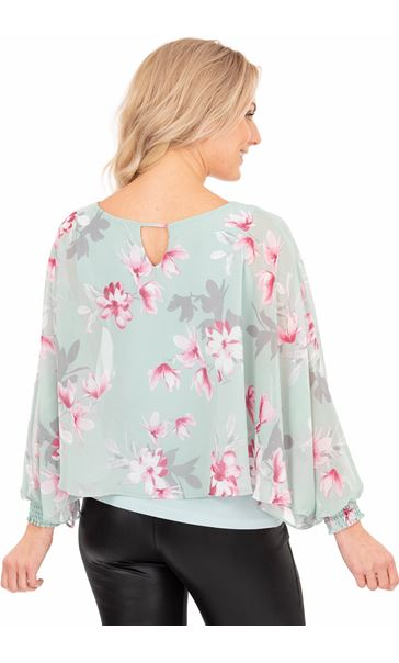 Printed Chiffon Layered Top Mint/Pink - Gallery Image 2