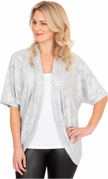 Oversized Snake Print Lightweight Knit Cover Up Silver Grey