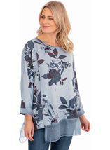 Relaxed Fit Floral Print Top Blue - Gallery Image 1