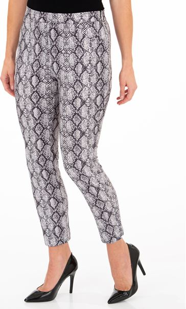 Faux Suede Snake Printed Fitted Trousers