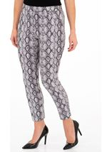 Faux Suede Snake Printed Fitted Trousers Grey/Black - Gallery Image 1