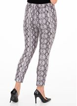 Faux Suede Snake Printed Fitted Trousers Grey/Black - Gallery Image 2