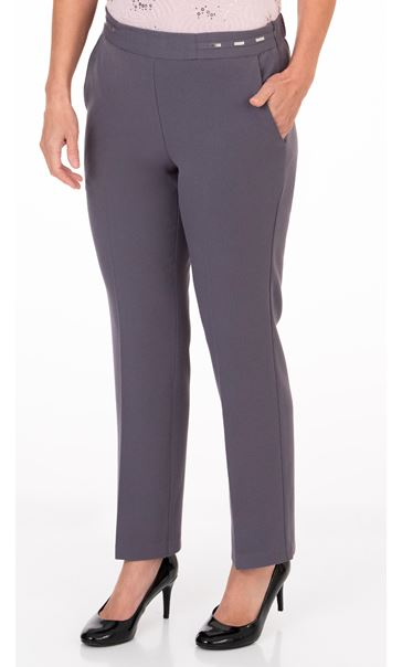 Anna Rose Straight Leg Trouser 27 inch - Mid Grey