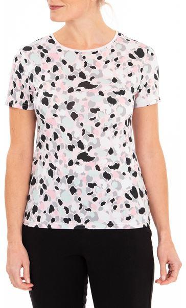 Anna Rose Printed Short Sleeve Jersey Top Pink/Multi