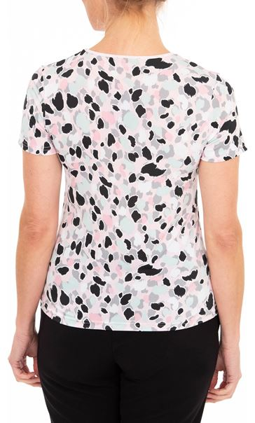 Anna Rose Printed Short Sleeve Jersey Top Pink/Multi - Gallery Image 2