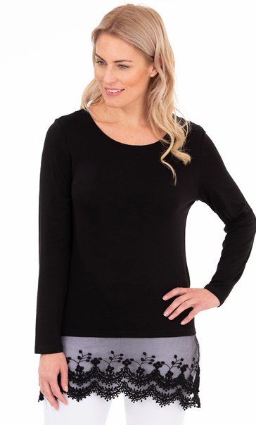 Longline Long Sleeve Lace Trim Jersey Top - Black