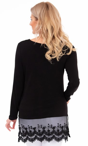 Longline Long Sleeve Lace Trim Jersey Top Black - Gallery Image 2