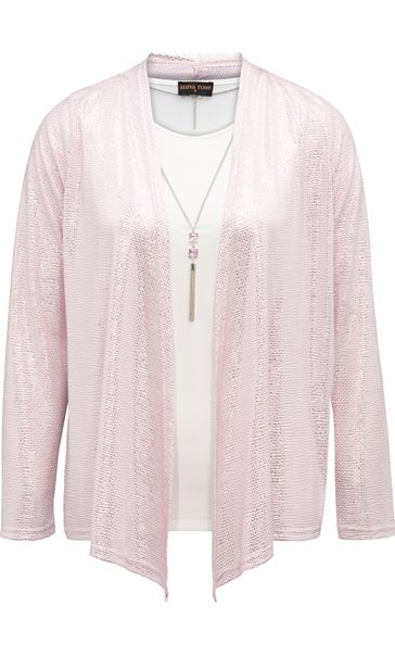 Anna Rose Two Piece Top Set With Necklace Pink/Silver - Gallery Image 3