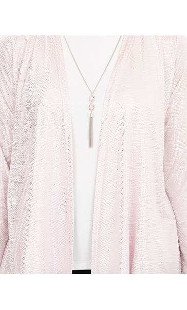 Anna Rose Two Piece Top Set With Necklace Pink/Silver - Gallery Image 4