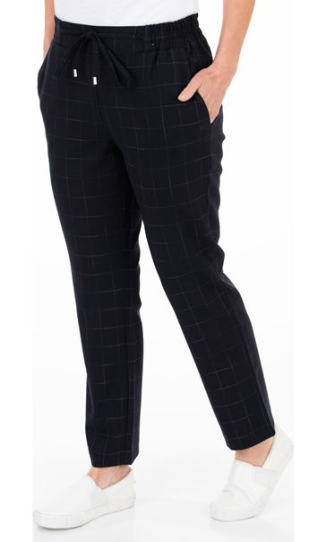 Anna Rose Pull On Check Trousers Navy/Multi