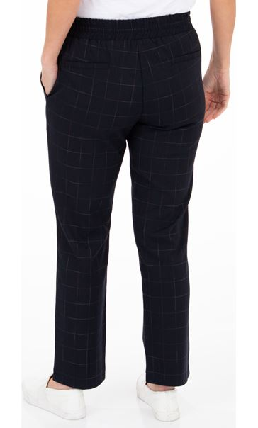 Anna Rose Pull On Check Trousers Navy/Multi - Gallery Image 2