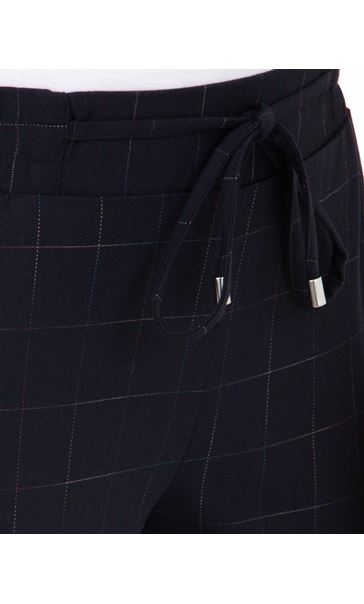 Anna Rose Pull On Check Trousers Navy/Multi - Gallery Image 3