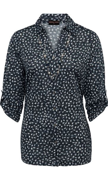 Anna Rose Printed Blouse With Necklace Navy/Ivory - Gallery Image 3
