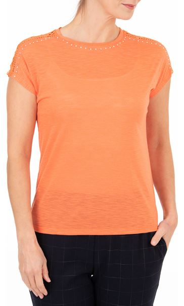 Anna Rose Embellished Short Sleeve Jersey Top Orange