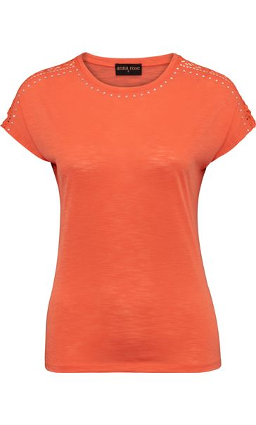 Anna Rose Embellished Short Sleeve Jersey Top Orange - Gallery Image 3