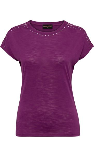 Anna Rose Embellished Short Sleeve Jersey Top Grape - Gallery Image 3