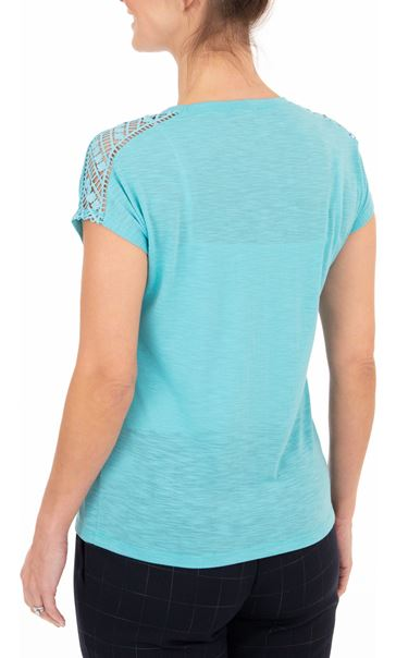 Anna Rose Embellished Short Sleeve Jersey Top Turq - Gallery Image 2