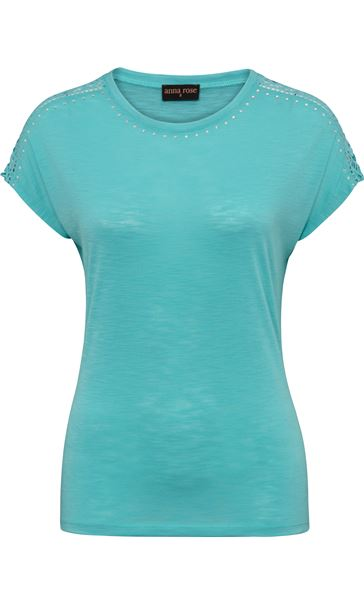 Anna Rose Embellished Short Sleeve Jersey Top Turq - Gallery Image 3
