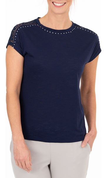 Anna Rose Embellished Short Sleeve Jersey Top Navy