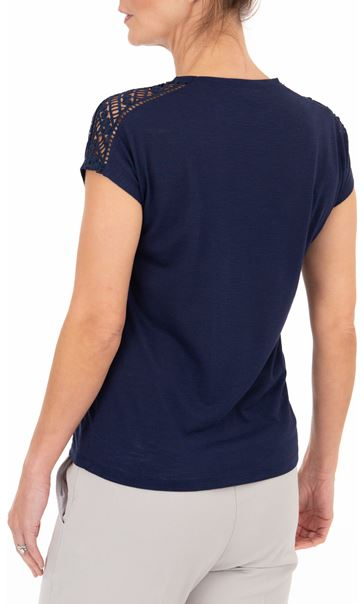 Anna Rose Embellished Short Sleeve Jersey Top Navy - Gallery Image 2