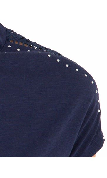 Anna Rose Embellished Short Sleeve Jersey Top Navy - Gallery Image 4