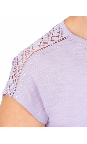 Anna Rose Embellished Short Sleeve Jersey Top Soft Lilac - Gallery Image 4