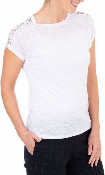 Anna Rose Embellished Short Sleeve Jersey Top White