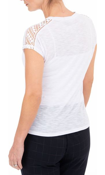 Anna Rose Embellished Short Sleeve Jersey Top White - Gallery Image 2