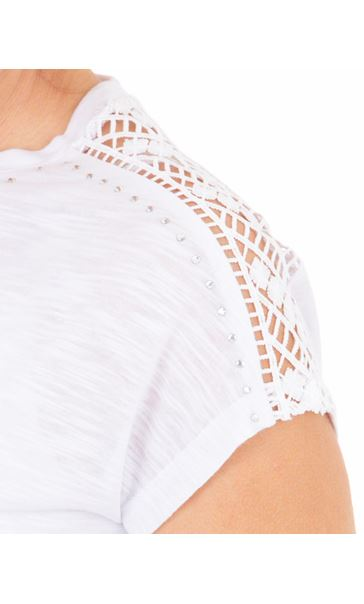Anna Rose Embellished Short Sleeve Jersey Top White - Gallery Image 4