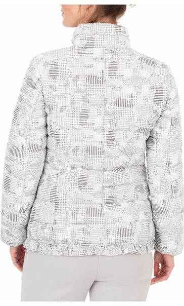 Anna Rose Check Quilted Coat Grey/White - Gallery Image 2