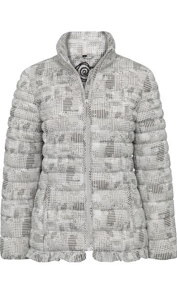 Anna Rose Check Quilted Coat Grey/White - Gallery Image 3