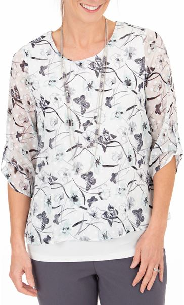 Anna Rose Butterfly Print Top With Necklace Ivory/Mint