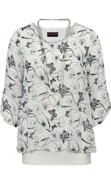 Anna Rose Butterfly Print Top With Necklace Ivory/Mint - Gallery Image 3