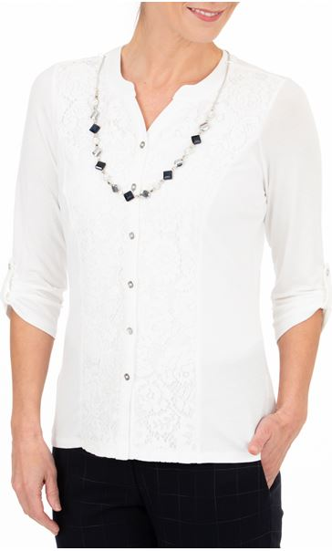 Anna Rose Lace Panel Blouse With Necklace Ivory